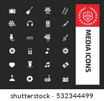 media icon set clean vector | Shutterstock .eps vector #532344499