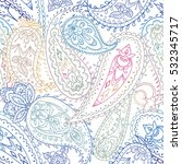 Seamless colorful indian floral paisley pattern