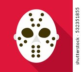 hockey goalie mask icon. flat...