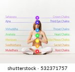 woman meditating in lotus... | Shutterstock . vector #532371757