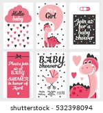 set of 6 cute creative cards... | Shutterstock .eps vector #532398094