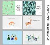 set of christmas cards.... | Shutterstock .eps vector #532403641