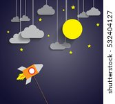 rocket to the full moon with... | Shutterstock .eps vector #532404127