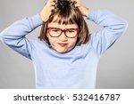 annoyed 6 year old little child ... | Shutterstock . vector #532416787