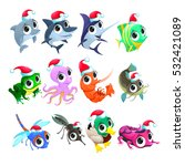funny christmas animals. vector ... | Shutterstock .eps vector #532421089