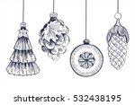 christmas tree toys. hand drawn ... | Shutterstock .eps vector #532438195