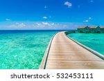 beautiful water villas in... | Shutterstock . vector #532453111