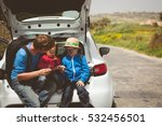 father with two kids looking at ... | Shutterstock . vector #532456501