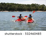 two kayak on lake are making a... | Shutterstock . vector #532460485