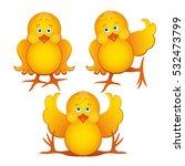 chicken set. funny yellow... | Shutterstock .eps vector #532473799