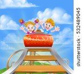 cartoon happy boy and girl... | Shutterstock .eps vector #532489045