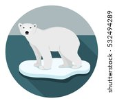 ice bear on floe climate change ... | Shutterstock .eps vector #532494289