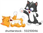 Stock vector two adorable kittens playing together 53250046