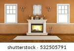 empty retro room with fireplace ...   Shutterstock . vector #532505791