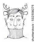 illustrated man in pullover...   Shutterstock . vector #532508275