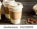 coffee cup to go at wooden... | Shutterstock . vector #532528099
