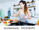 portrait of young woman frying... | Shutterstock . vector #532528291