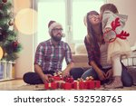 young family on christmas... | Shutterstock . vector #532528765