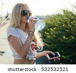 beautiful fitness athlete blond ... | Shutterstock . vector #532532521