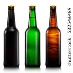 Set Of Beer Bottles Isolated O...
