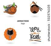 japan food logo set. noodles... | Shutterstock .eps vector #532576105