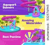 aquapark horizontal banners... | Shutterstock .eps vector #532576945