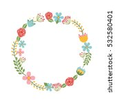 cute floral wreath decorative... | Shutterstock .eps vector #532580401
