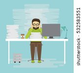 overworked businessman sitting... | Shutterstock .eps vector #532583551