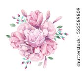 watercolor romantic bouquet of... | Shutterstock . vector #532589809