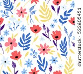 vector floral pattern with... | Shutterstock .eps vector #532605451