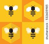 bee icon set flat design | Shutterstock .eps vector #532605985