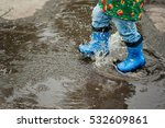 little boy in raincoat and... | Shutterstock . vector #532609861