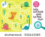 Funny maze for children. Help the little dino to find mum. Kids learning games collection. | Shutterstock vector #532615285