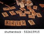 Wooden Scandinavian Runes On...