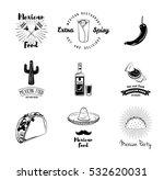 nachos  burrito  sombrero... | Shutterstock .eps vector #532620031