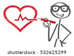 stick figure drawing heart  ... | Shutterstock .eps vector #532625299