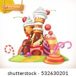 sweet castle. gingerbread house.... | Shutterstock .eps vector #532630201