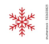 red snowflake flat icon. snow... | Shutterstock .eps vector #532633825