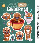 set of christmas stickers with... | Shutterstock .eps vector #532653841