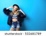 young cool woman in fur and hat ... | Shutterstock . vector #532681789