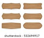set of 6 shapes wooden sign... | Shutterstock .eps vector #532694917