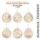 Set Of Gold Christmas Balls...