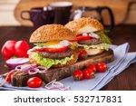 Hamburgers On A Table ...