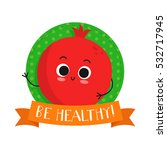 pomegranate  cute fruit vector... | Shutterstock .eps vector #532717945