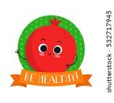 pomegranate  cute fruit vector...   Shutterstock .eps vector #532717945