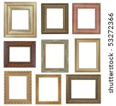 nine antique picture frames isolated on white . High resolution - stock photo