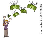an image of woman losing money. | Shutterstock .eps vector #532733539
