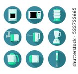 kitchen appliances flat icons.... | Shutterstock .eps vector #532733665