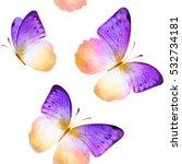 Seamless Watercolor Butterflie...