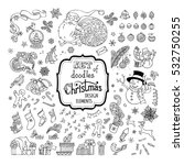 vector set of doodles christmas ... | Shutterstock .eps vector #532750255